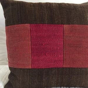 Color Blocked Pillow Brown/Red/Mauve
